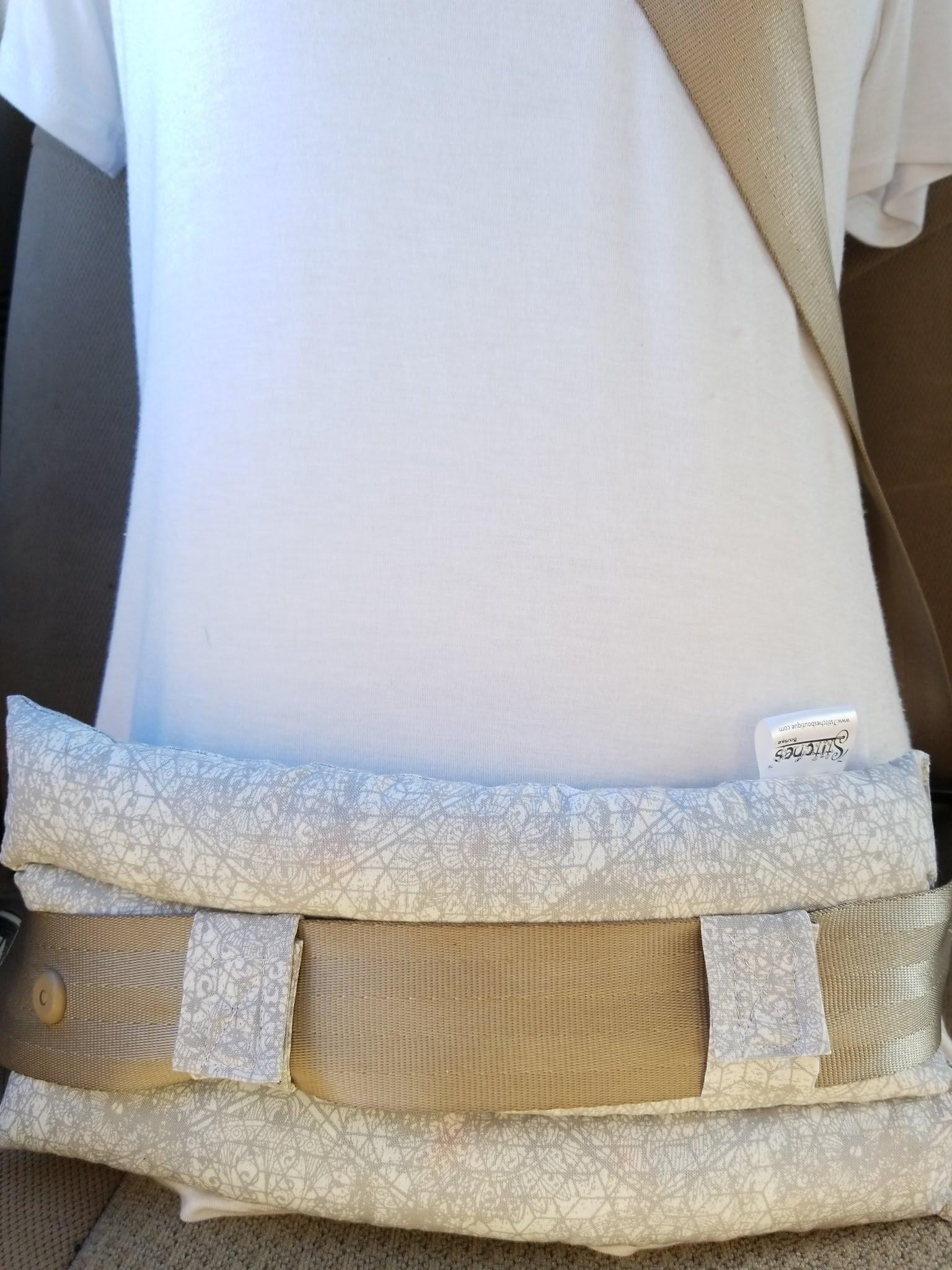 Abdominal Seat Belt Pillow Grey Lace Medallion