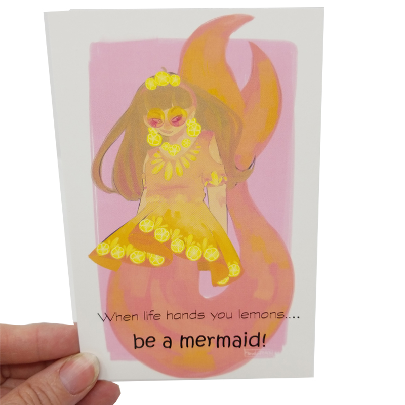 lemon mermaid card
